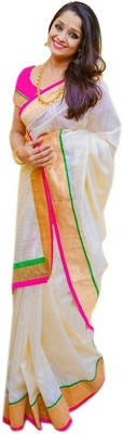 Cozee Shopping Striped, Embroidered Bollywood Cotton, Silk Saree(Magenta)