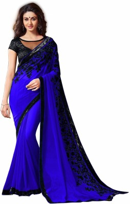 Bollywood Designer Self Design Bollywood Georgette Saree(Blue) at flipkart