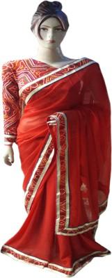 RAJASTHANI BANDEJ Plain Daily Wear Synthetic Sari