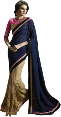 Manish Creation Embellished, Embriodered, Graphic Print Bollywood Net, Georgette Sari