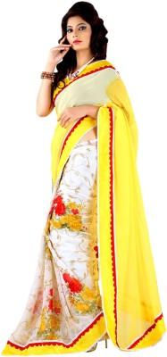 Shraddha Fashion Printed, Striped Bollywood Pure Georgette Sari