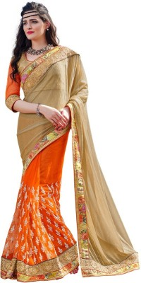 DesiButik Embriodered Fashion Lycra, Net Sari