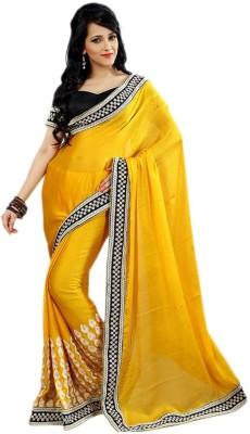 Panash Trends Embriodered Bollywood Satin Sari