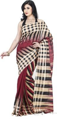 Guava Striped Kotki Handloom Tussar Silk Sari