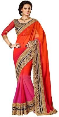 Hari Krishna sarees Embriodered Bollywood Pure Chiffon Sari
