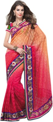 Triveni Self Design Fashion Net, Jacquard Sari