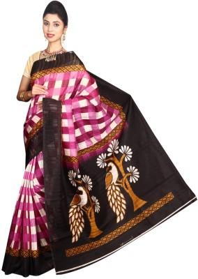 Glamorous Lady Checkered Bhagalpuri Silk Cotton Blend Sari