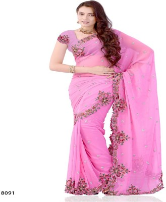 Swikriti Creations Embriodered Fashion Georgette Sari