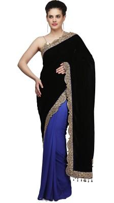 Purple Oyster Embellished Bollywood Velvet Sari(Blue)
