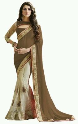 FabTexo Embriodered Fashion Net Sari