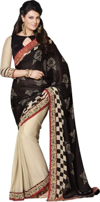 Queenbee Checkered, Printed, Embriodered, Self Design Fashion Georgette Sari