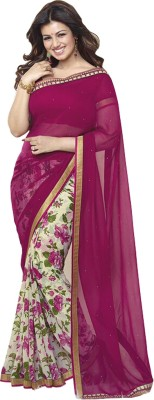 JK Creation Floral Print Bollywood Georgette Sari