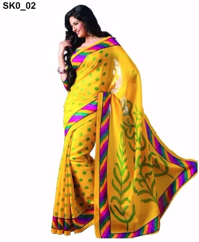 svb sarees Polka Print Assam Silk Cotton Linen Blend Saree(Beige)