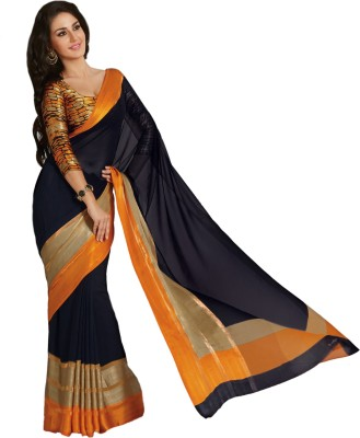 Taanshi Solid Bollywood Georgette Saree(Black) at flipkart