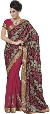 Indian Women By Bahubali Self Design Fashion Brasso Sari