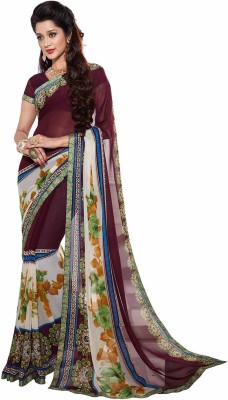 Jevi Prints Printed Fashion Synthetic Crepe Sari