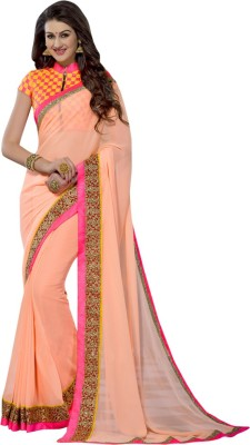 Shoponbit Plain Bollywood Georgette Sari