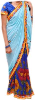Venilal Printed Fashion Synthetic Georgette, Chanderi Sari