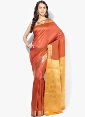 Parchayee Solid Mysore Art Silk Saree(Brown) at flipkart