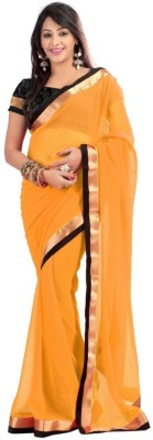 onlinefayda Solid Daily Wear Chiffon Sari