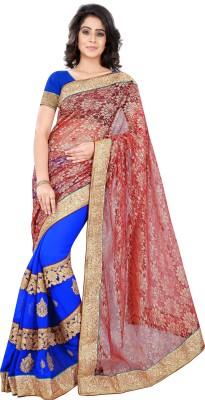 V-Karan Embriodered Fashion Chiffon, Net Sari
