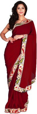 Jugniji Plain Fashion Handloom Georgette Sari