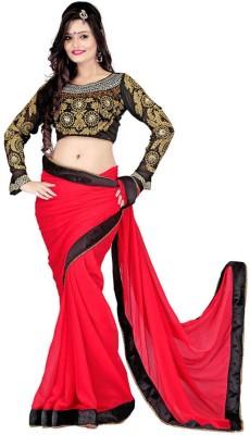 Raviraj Plain Fashion Georgette Sari