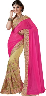 M.S.Retail Embroidered Bollywood Linen, Net Saree(Pink) at flipkart