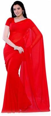 White World Plain Fashion Georgette Sari