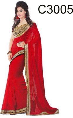 Craze N Demand Plain Fashion Georgette Sari