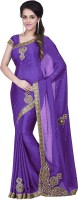 Leeps Prints Self Design Bollywood Jacquard Sari(Purple)