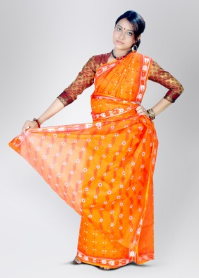 AKRTI Cotton Sari(Orange) at flipkart