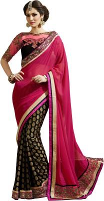 Kvsfab Embriodered Fashion Georgette, Jacquard Sari