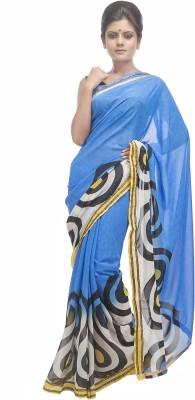 Retaaz Solid, Printed Fashion Georgette Sari