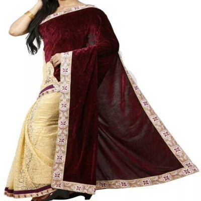 Reya Self Design Fashion Georgette Saree(Brown) at flipkart