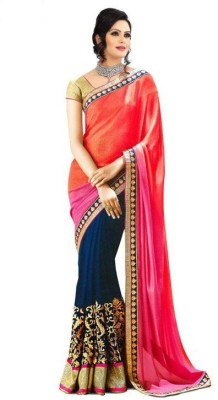 Radhe Krishna Creation Embriodered Fashion Lace, Georgette Sari