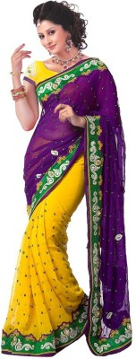 kuvarba fashion Embriodered Bollywood Pure Georgette Sari