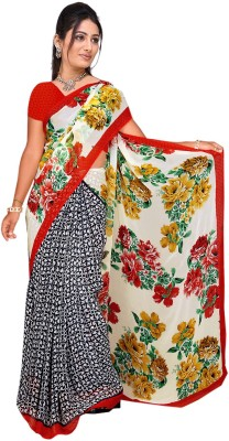 Trendz Floral Print Bollywood Georgette Sari(White, Red)