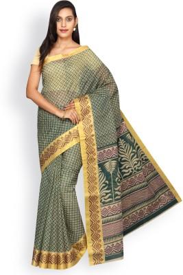 Korni Geometric Print Bhagalpuri Polycotton Saree(Beige, Green) at flipkart