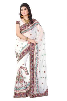 JTInternational Embriodered Fashion Handloom Georgette Sari