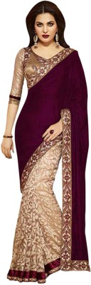 Ramadev Fashion Embriodered Bollywood Velvet Sari