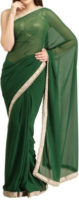 Silons Designer Plain Bollywood Synthetic Georgette Sari