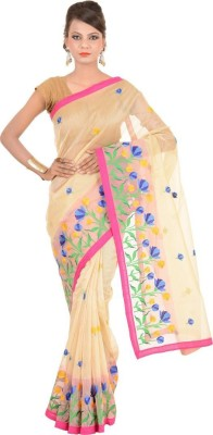 KDC SAREES Embriodered Banarasi Handloom Cotton Sari