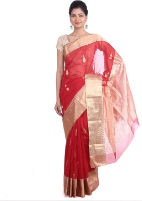 Indian Artizans Woven Chanderi Silk Cotton Blend Sari