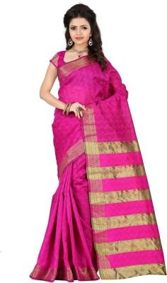 Stutti Fashion Self Design Kanjivaram Silk Saree(Pink) at flipkart