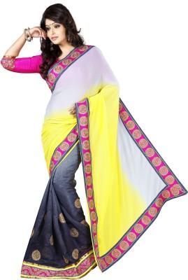 Urjita Creations Solid Fashion Chiffon Sari