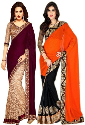 Subhash Sarees Self Design Fashion Georgette Sari