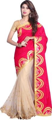Hanis Solid Fashion Handloom Velvet, Net Sari
