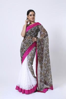 Ethnic Route Printed Fashion Net, Chiffon Sari