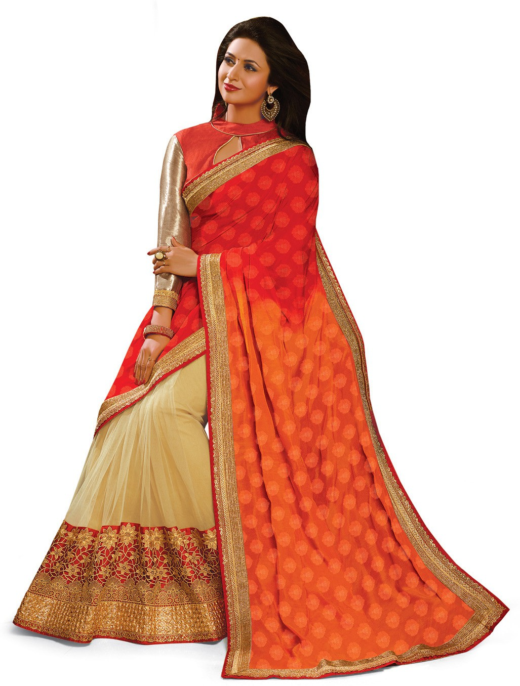 Indianbeauty Self Design, Embroidered Bollywood Jacquard, Net, Pure Georgette Saree(Orange, Red, Beige)